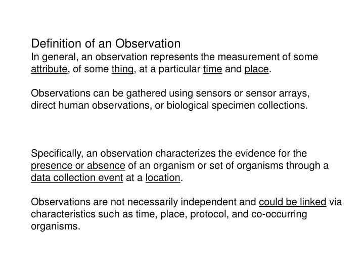 PPT - Definition of an Observation PowerPoint Presentation ...