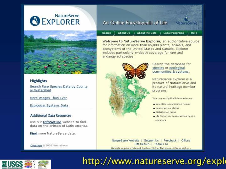 http://www.natureserve.org/explorer