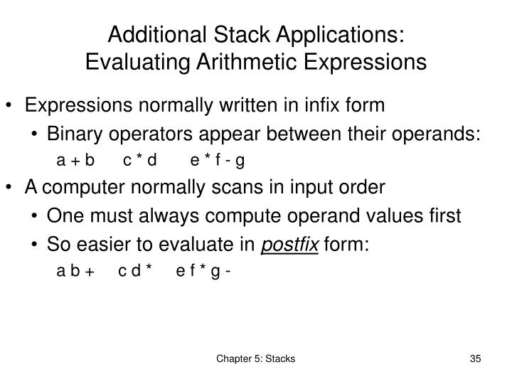 Additional Stack Applications: