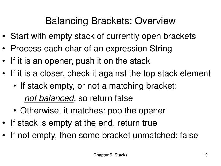 Balancing Brackets: Overview