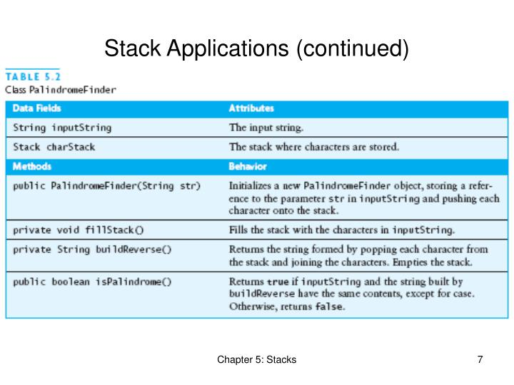 Stack Applications (continued)
