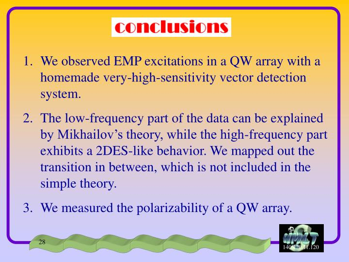 We observed EMP excitations in a QW array with a homemade very-high-sensitivity vector detection system.