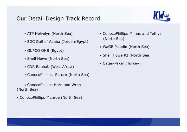 Our Detail Design Track Record