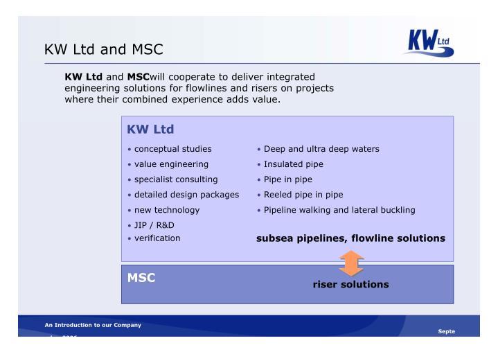 KW Ltd and MSC