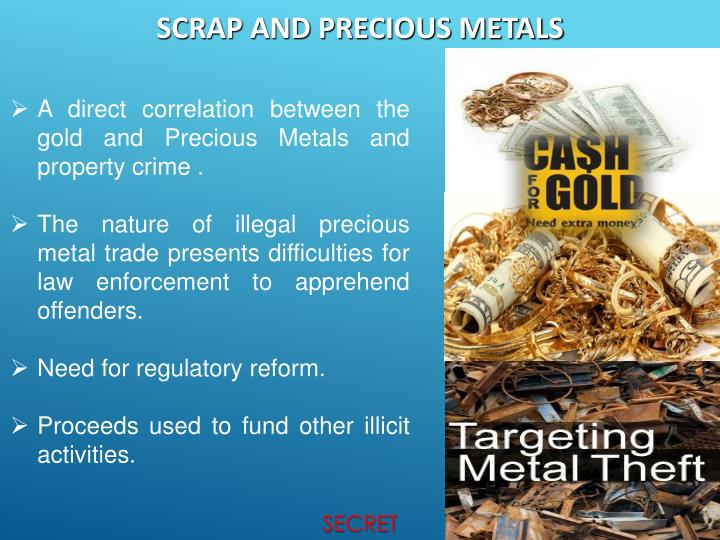 A direct correlation between the gold and Precious Metals and property crime