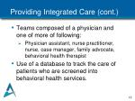 providing integrated care cont
