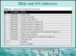irqs and i o addresses