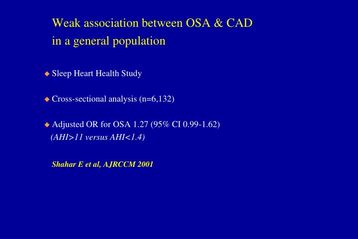 Weak association between OSA & CAD
