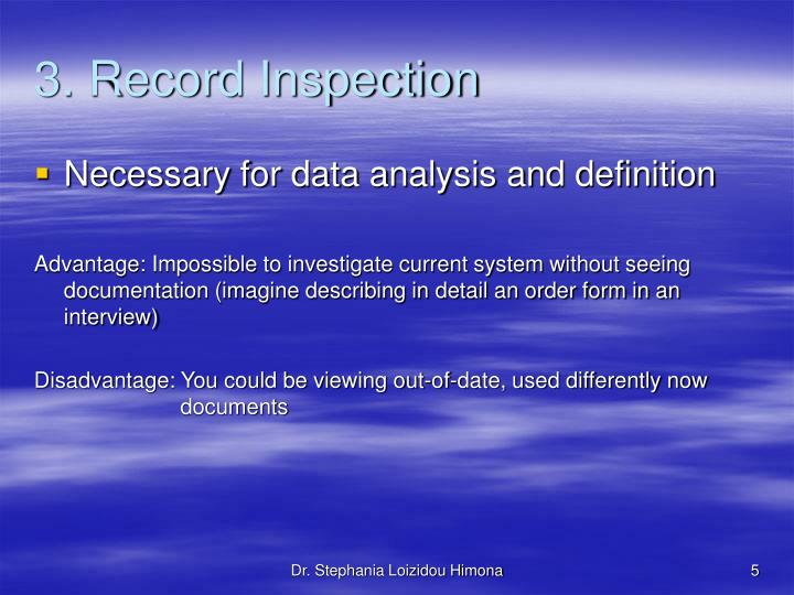 3. Record Inspection