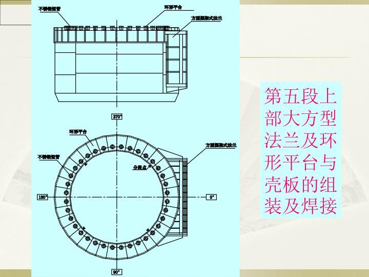 第五段上部大方型法兰及环形平台与壳板的组装及焊接