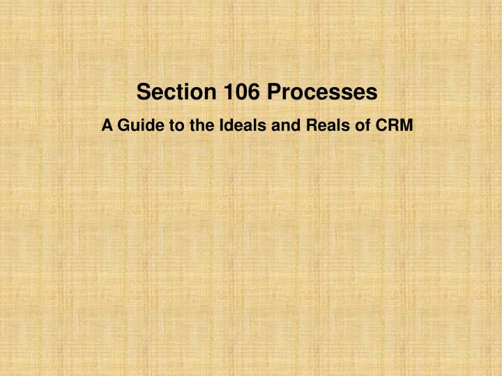 Section 106 Processes