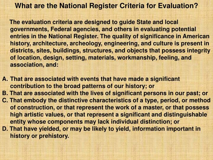 What are the National Register Criteria for Evaluation?