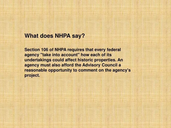 What does NHPA say?