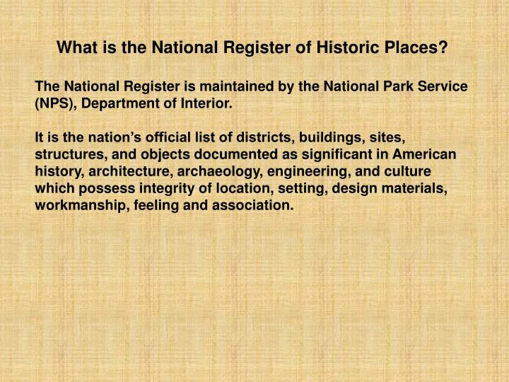 What is the National Register of Historic Places?