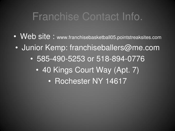 Franchise Contact Info.
