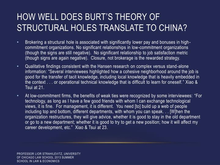 How well does Burt's theory of structural holes translate to china?