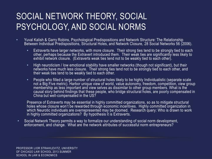 Social network theory, social psychology, and social norms