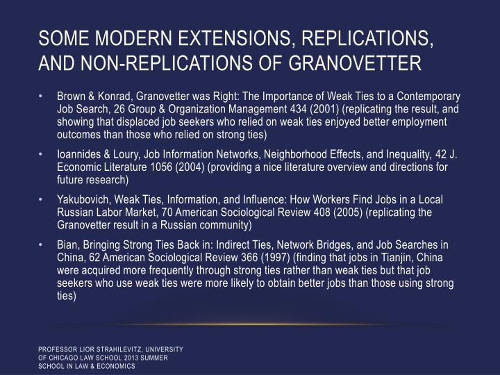 Some modern extensions, replications, and non-replications of