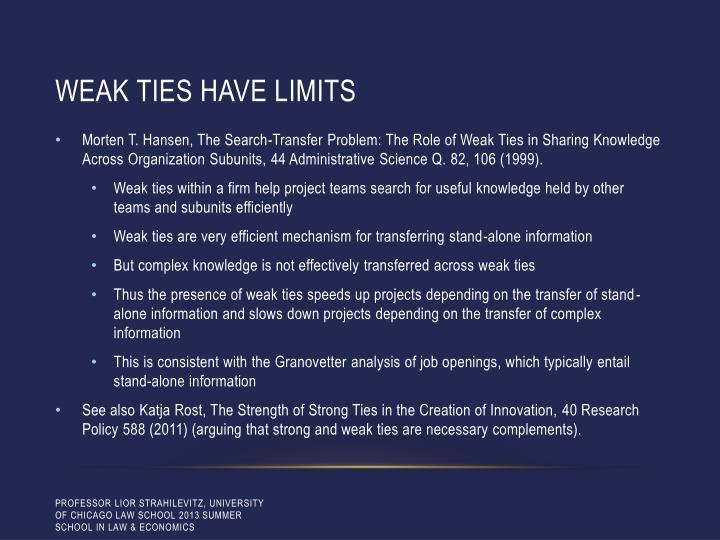Weak ties have limits