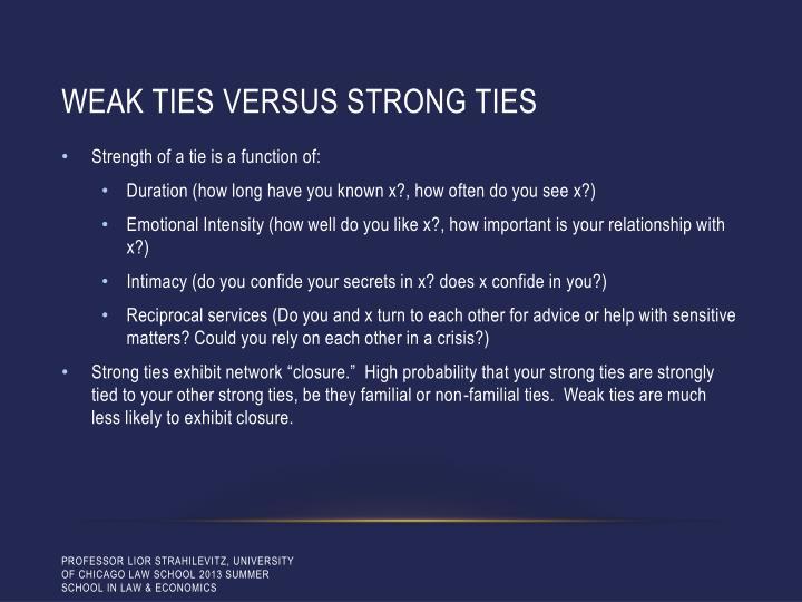 Weak ties versus strong ties