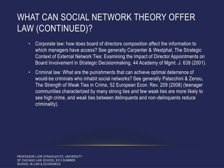 What can social network theory offer law (Continued)?