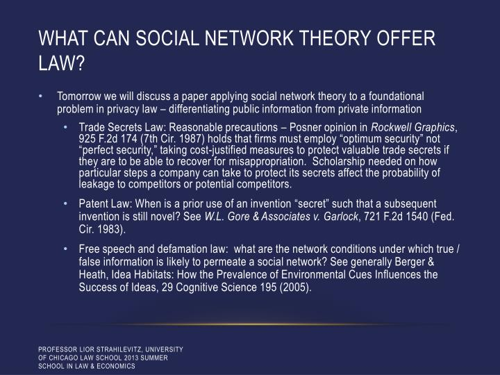 What can social network theory offer law?