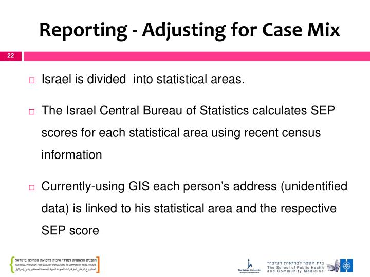 Reporting - Adjusting for Case Mix