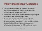 policy implications questions