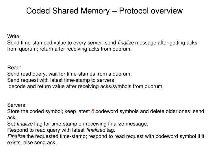 Coded Shared Memory – Protocol overview