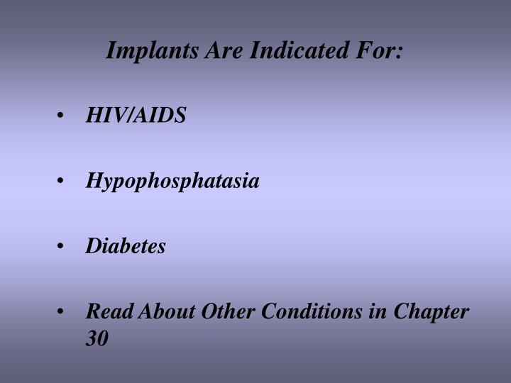 Implants Are Indicated For: