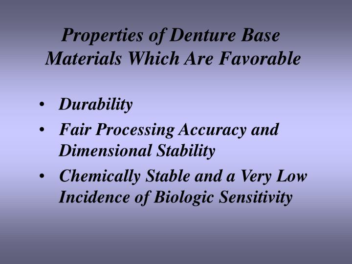 Properties of Denture Base