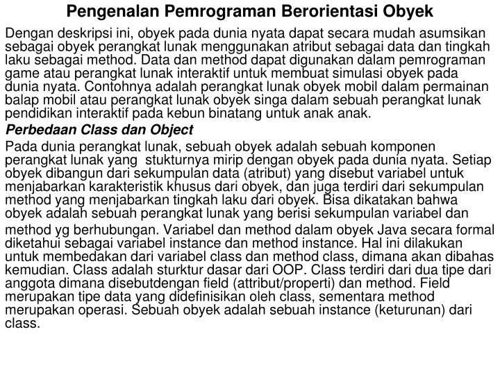 Pengenalan pemrograman berorientasi obyek1