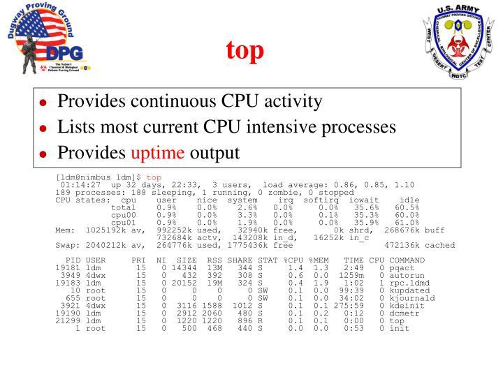 Provides continuous CPU activity