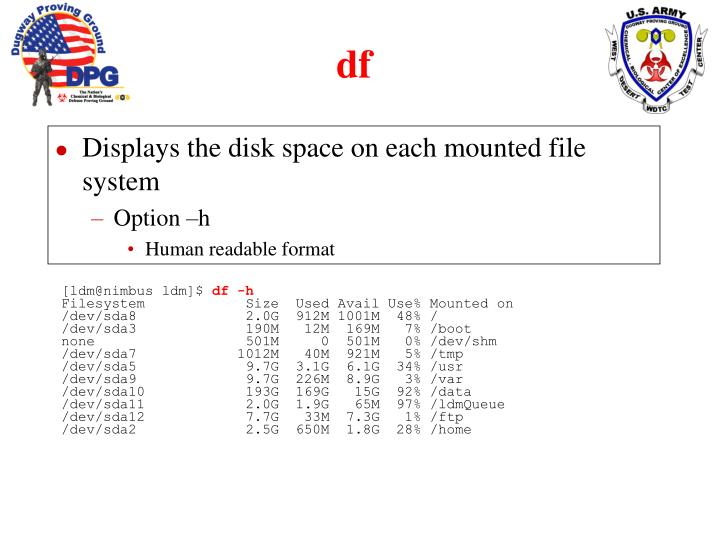Displays the disk space on each mounted file system