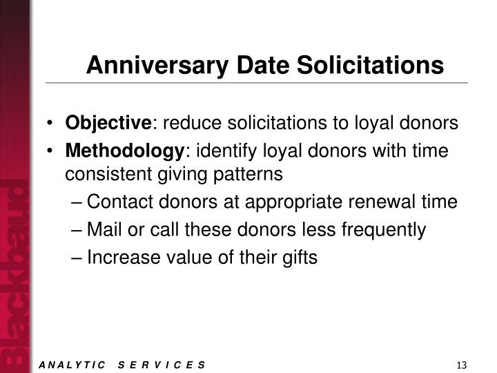 Anniversary Date Solicitations