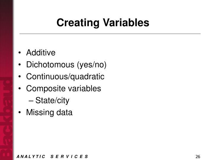 Creating Variables