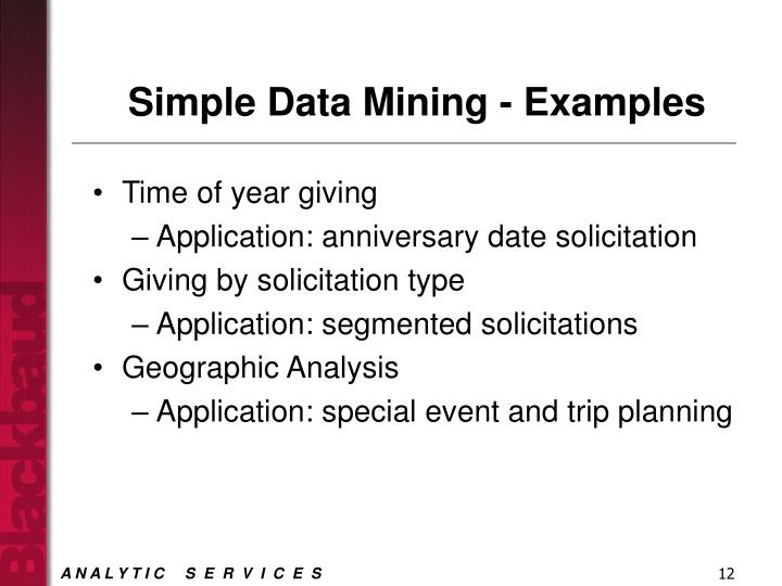 Simple Data Mining - Examples