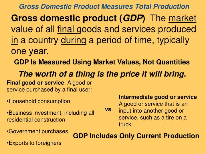 gross domestic product measures total production n.