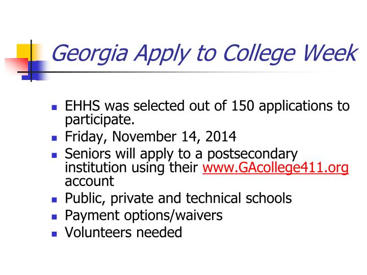 Georgia Apply to College Week