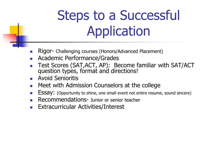 Steps to a Successful Application