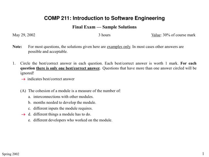 PPT - COMP 211: Introduction to Software Engineering Final