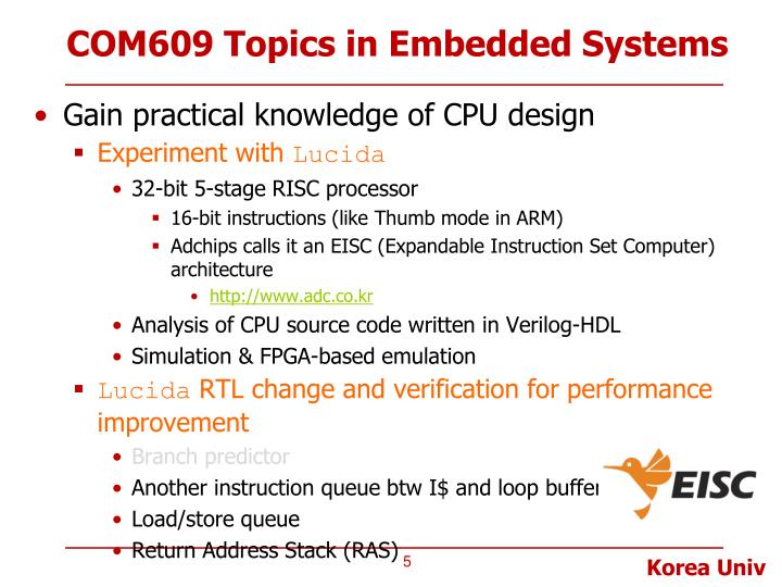 COM609 Topics in Embedded Systems