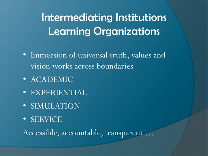 Intermediating Institutions