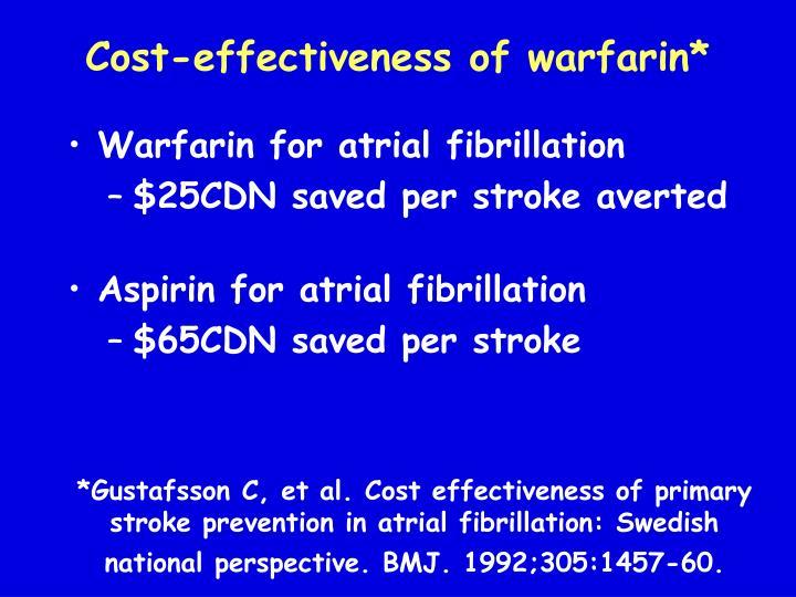 Cost-effectiveness of warfarin*