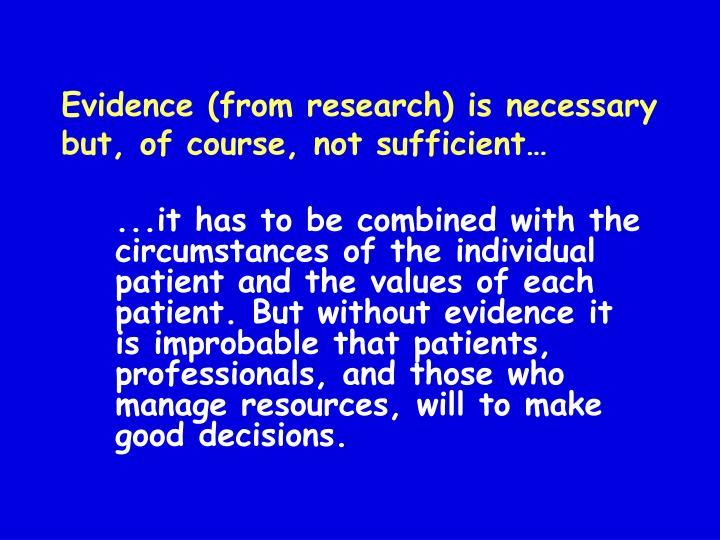 Evidence (from research) is necessary but, of course, not sufficient…