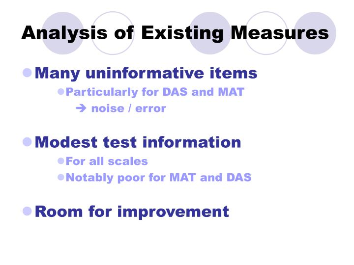 Analysis of Existing Measures