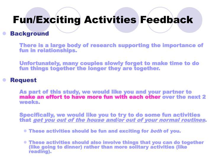 Fun/Exciting Activities Feedback