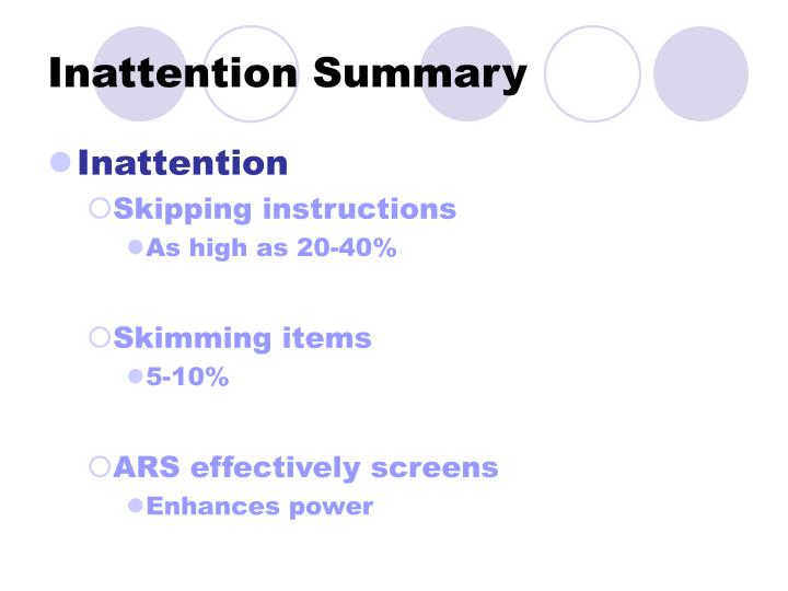 Inattention Summary