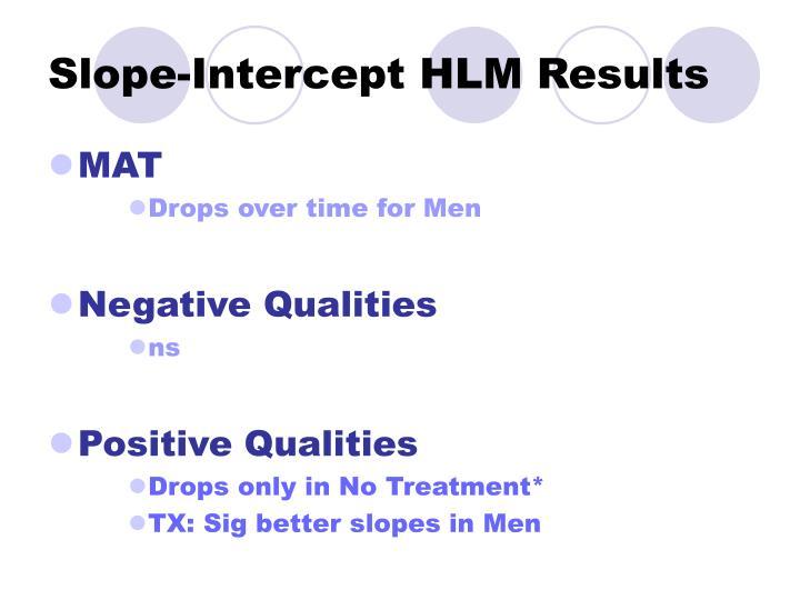 Slope-Intercept HLM Results