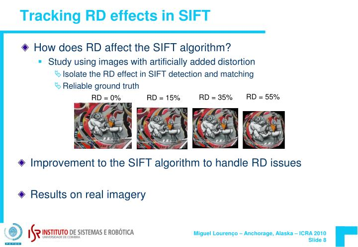 Tracking RD effects in SIFT